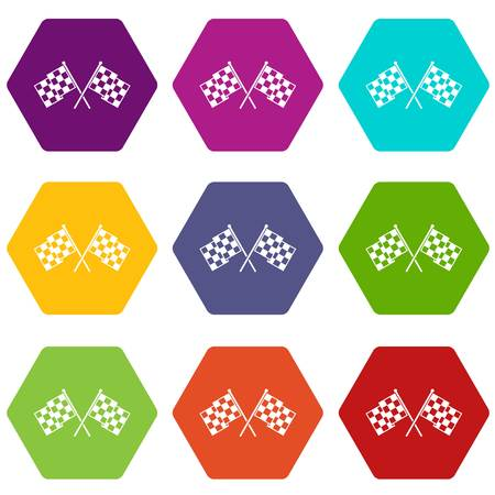 Checkered racing flags icon set color hexahedron