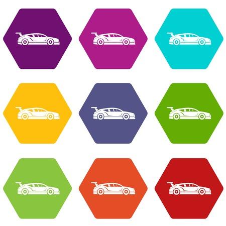 Rally racing car icon set color hexahedron