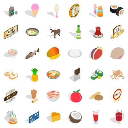 Chow icons set. Isometric set of 36 chow vector icons for web isolated on white background Illustration