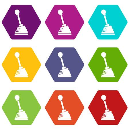 Gear stick icon set color hexahedron