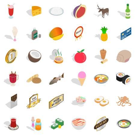 Foodstuff icons set, isometric style