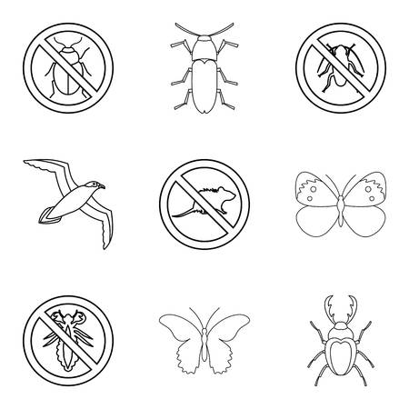 Kill insect icons set, outline style