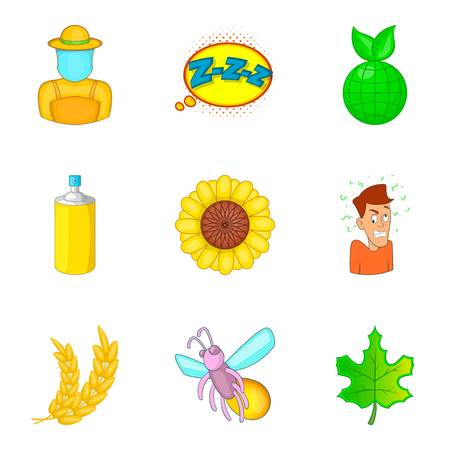 Small insect icons set, cartoon style