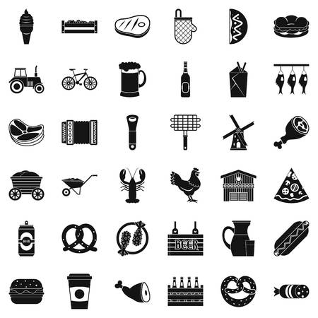 Gourmet food icons set, simple style