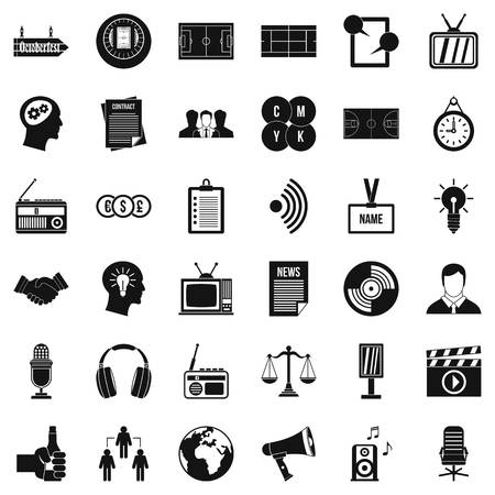 Mass communication icons set, simple style