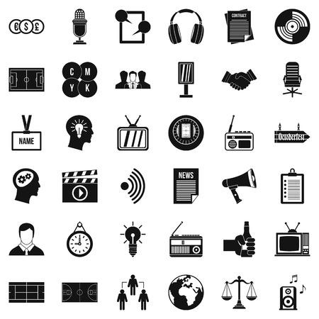 Multimédia signifie ensemble d'icônes, style simple