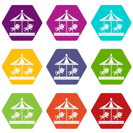 Merry go round horse ride icon set color hexahedron Illustration