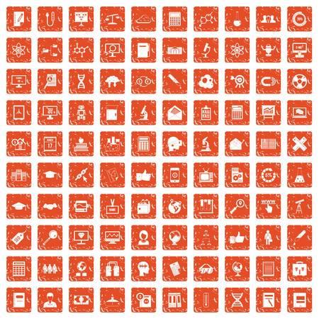 100 analytics icons set grunge orange