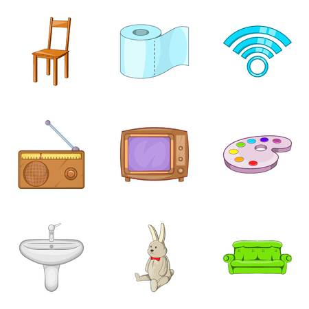 Piece of furniture icons set. Cartoon set of 9 piece of furniture vector icons for web isolated on white background Ilustração