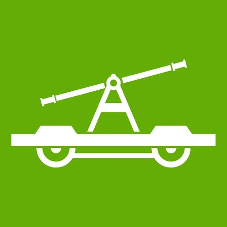 Draisine or handcar icon white isolated on green background. Vector illustration Illustration