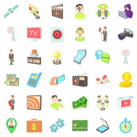 Media representatives icons set, cartoon style