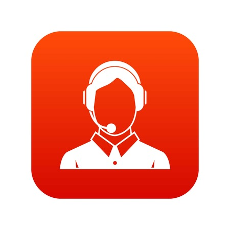 Client services , phone assistance icon digital red