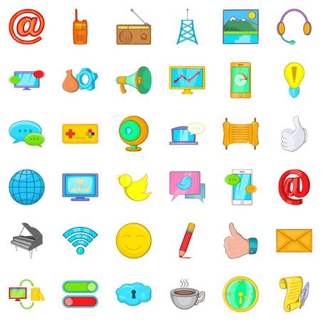 Carrier icons set, cartoon style