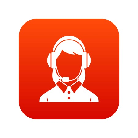 Business woman with headset icon digital red