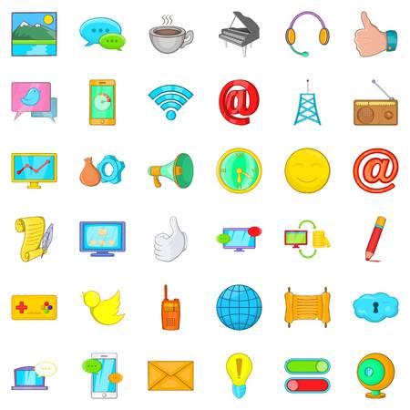 Bearer media icons set. Cartoon set of 36 bearer media vector icons for web isolated on white background