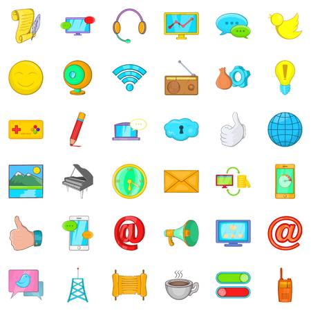Data centre icons set, cartoon style Illustration