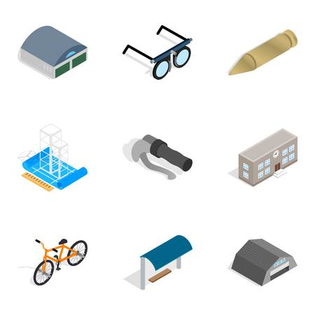 Metal thing icons set. Isometric set of 9 metal thing vector icons for web isolated on white background