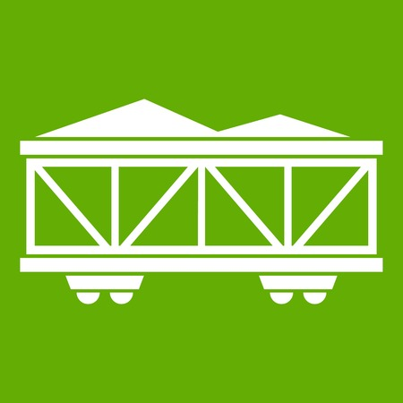 Train cargo wagon icon white isolated on green background. Vector illustration