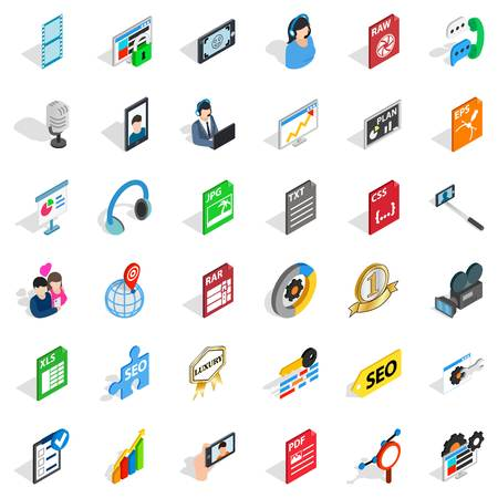 Media auto icons set. Isometric set of 36 media auto vector icons for web isolated on white background