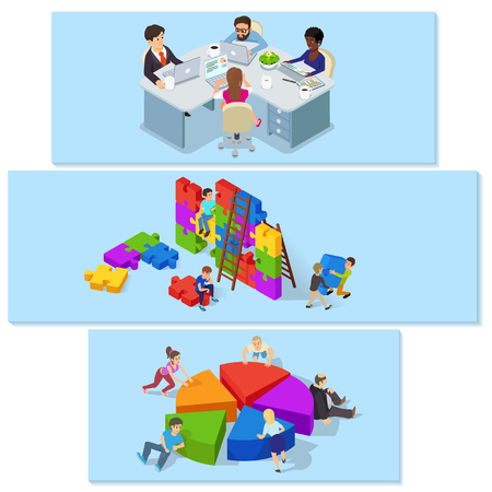 Team building banner horizontal set, isometric style Illustration