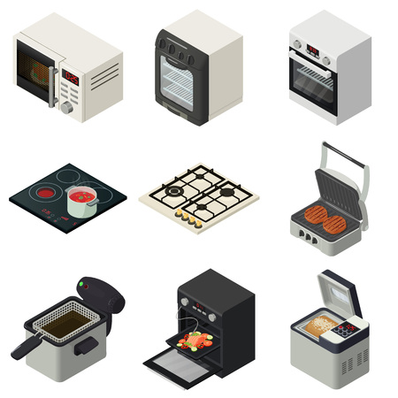 Oven stove fireplace icons set, isometric style
