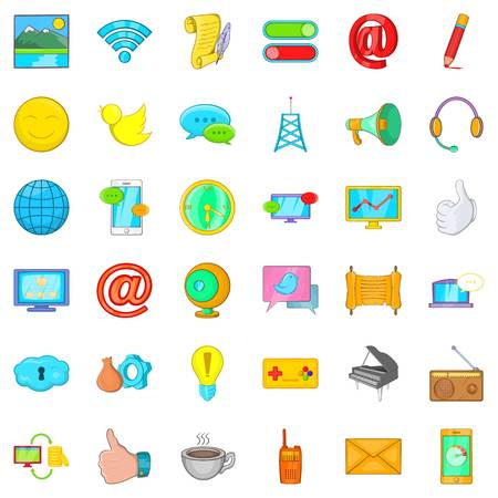 Computer center icons set. Cartoon set of 36 computer center vector icons for web isolated on white background Illustration