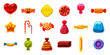 Candy icon set. Cartoon set of candy vector icons for web design isolated on white background. Illustration