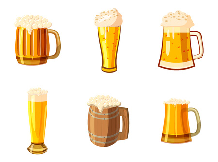 Glass of beer icon set, cartoon style