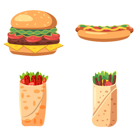 Fast food icon set. Cartoon set of fast food vector icons for web design isolated on white background Illustration