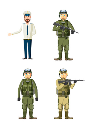 Army man icon set. Cartoon set of army man vector icons for web design isolated on white background