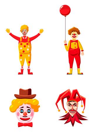 Clown icon set, cartoon style Illustration