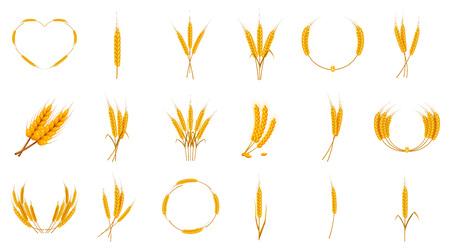 Wheat icon set, cartoon style Vettoriali