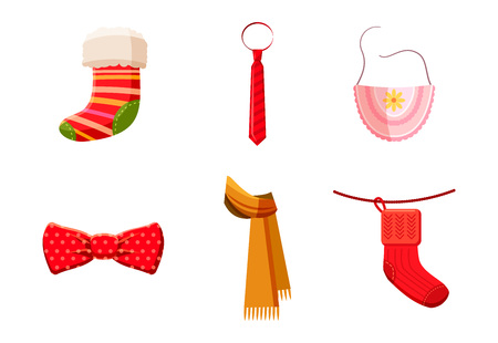 Clothes accessories icon set, cartoon style Illustration