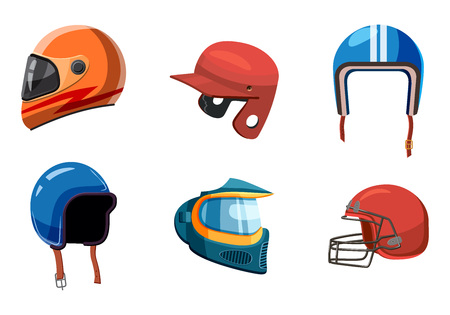 Sport helmet icon set, cartoon style Illustration