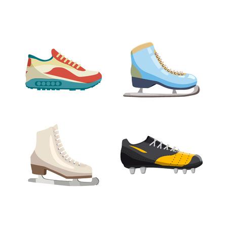 Sport shoes icon set, cartoon style Illustration