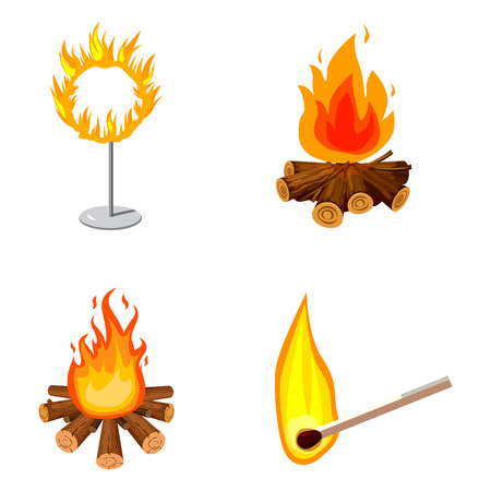 Fire icon set. Cartoon set of fire vector icons for web design isolated on white background