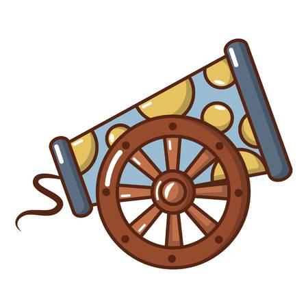 Cast-iron cannon icon. Cartoon illustration of cast-iron cannon vector icon for web. Vettoriali