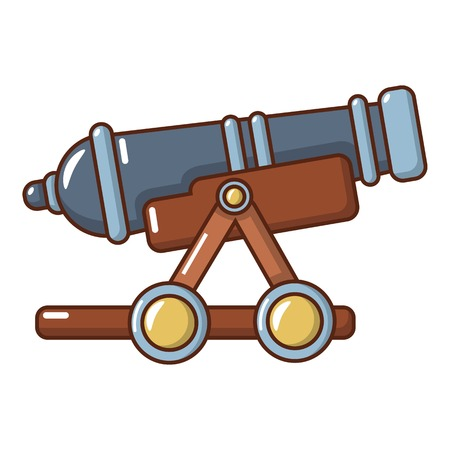 Enemy cannon icon. Cartoon illustration of enemy cannon vector icon for web.