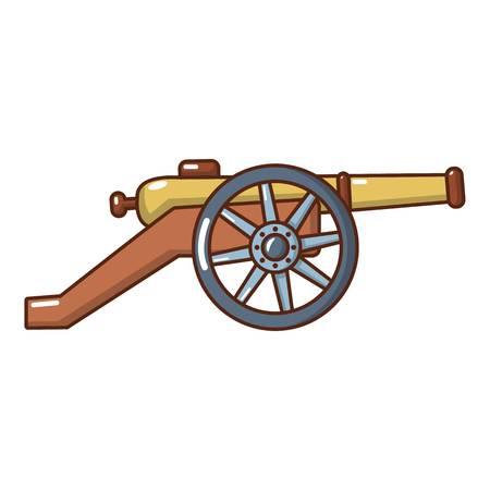 Coastal cannon icon, cartoon style. Illustration