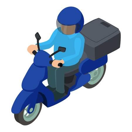 Icona consegna moto. Illustrazione isometrica dell'icona di vettore di consegna moto per il web Archivio Fotografico - 94482109