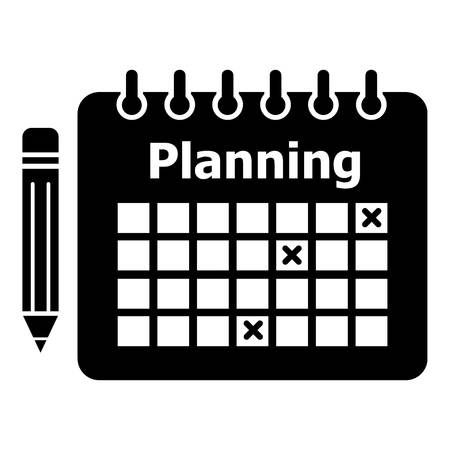 Planning icon. Simple illustration of planning vector icon for web Çizim