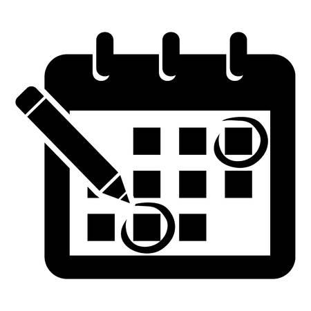 カレンダーアイコンをマークします。ウェブ用マークカレンダーベクトルアイコンの簡単なイラスト