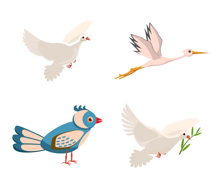 Bird icon set. Cartoon set of bird vector icons for web design isolated on white background