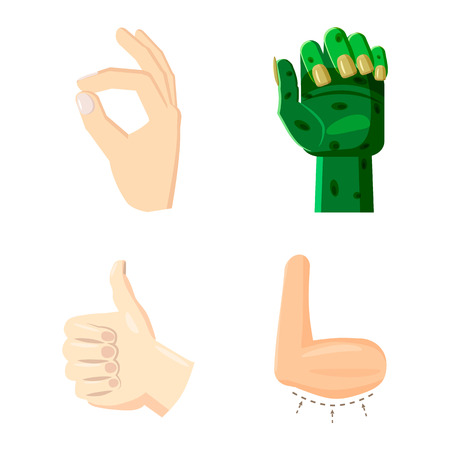 Hand icon set. Cartoon set of hand vector icons for web design isolated on white background
