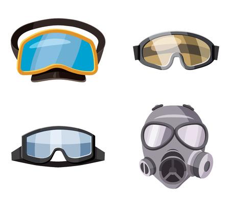 Mask icon set. Cartoon set of mask vector icons for web design isolated on white background Illustration