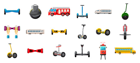 City transport icon set. Cartoon set of city transport vector icons for web design isolated on white background