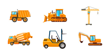 Contruction machine icon set. Cartoon set of contruction machine vector icons for web design isolated on white background