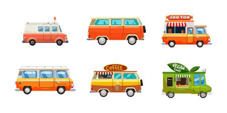 Minivan-Icon-Set. Karikatursatz Minivanvektorikonen für das Webdesign lokalisiert auf weißem Hintergrund