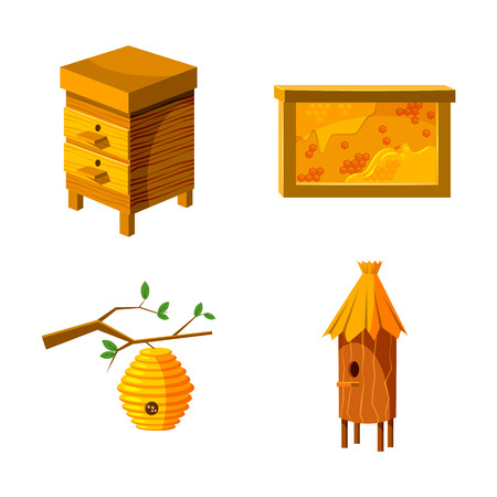 Bee house icon set. Cartoon set of bee house vector icons for web design isolated on white background