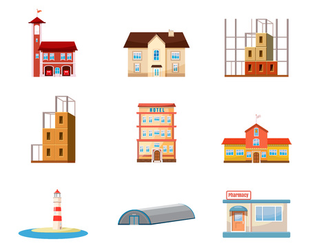 Buildings icon set. Cartoon set of buildings vector icons for web design isolated on white background Illustration